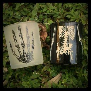 Halloween Goth Skeleton Bones Glass Candle Holders